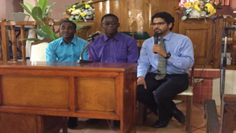 (L-R) Dr. Telfort, Jonathan Auguste (Translator), & Dr. Alex Coutsoumpos