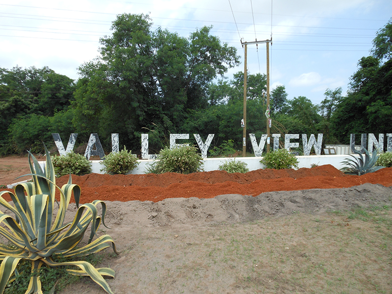 Newly landscaped front entrance of Valley View University, Oyibi, Ghana.